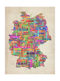 Text Map of Germany Map Prints by Michael Tompsett