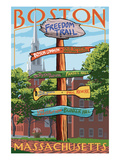 Boston, Massachusetts - Freedom Trail Sign Destinations Posters by Lantern Press 