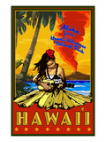Hula Girl and Ukulele - Hawaii Volcanoes National Park Posters by  Lantern Press