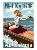 Port Townsend, Washington - Pinup Girl Boating Prints by  Lantern Press