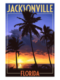 Jacksonville, Florida - Palms and Sunset Prints by  Lantern Press