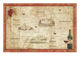 Wine Map Premium Giclee Print by Daphne Brissonnet