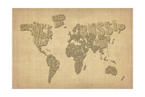 Typography Map of the World Map Premium Giclee Print by Michael Tompsett