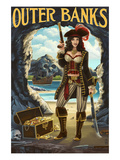 Outer Banks, North Carolina - Pirate Pinup Girl Prints by  Lantern Press