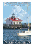 Roanoke Marshes Lighthouse - Outer Banks, North Carolina Posters by Lantern Press