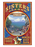 Sisters, Oregon - Town Scene Quilt Design Prints by  Lantern Press