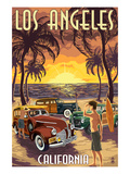 Los Angeles, California - Woodies and Sunset Posters by Lantern Press 