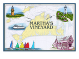 Martha's Vineyard - Nautical Chart Prints by  Lantern Press