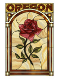 Oregon - Rose Stained Glass Posters by  Lantern Press