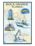 Boca Grande, Florida - Nautical Chart Art by  Lantern Press