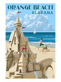 Orange Beach, Alabama - Sandcastle Poster von  Lantern Press