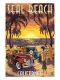 Seal Beach, California - Woodies and Sunset Prints by  Lantern Press