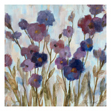 Abstracted Florals In Purple Premium Giclee Print by Silvia Vassileva