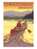 Owatonna, Minnesota - Canoe Scene Poster by Lantern Press