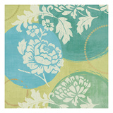 Floral Decal Turquoise I Premium Giclee Print by Veronique Charron