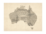 Old Sheet Music Map of Australia Map Posters by Michael Tompsett