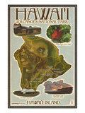 Map of Hawaii - Hawaii Volcanoes National Park Prints by  Lantern Press