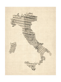 Viejo Sheet Music Mapa de Italiuna Mapa Lámina giclée de primera calidad por Michael Tompsett