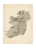 Michael Tompsett - Old Sheet Music Map of Ireland Map - Birinci Sınıf Giclee Baskı
