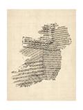 Viejo Sheet Music Mapa de Irely Mapa Lámina giclée de primera calidad por Michael Tompsett