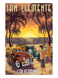 San Clemente, California - Woodies and Sunset Posters by Lantern Press