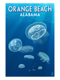 Orange Beach, Alabama - Jellyfish Scene Poster von  Lantern Press