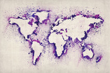 Map of the World Paint Splashes Premium Giclee Print by Michael Tompsett