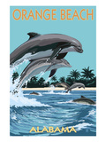 Orange Beach, Alabama - Dolphins Jumping Poster von Lantern Press 