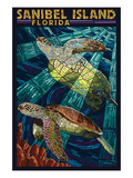 Sanibel Island, Florida - Sea Turtle Paper Mosaic Art by  Lantern Press