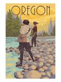 Oregon - Women Fishing Prints by  Lantern Press