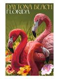 Daytona Beach, Florida - Flamingo Scene Print by  Lantern Press