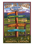 Waterton Lakes National Park, Canada - Sign Destination Posters by  Lantern Press