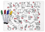 Alphabet Animals Recyclable Color Me Placemat Set Craft Supplies