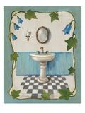 Bell Flower Bath II on Ivory Premium Giclée-tryk af Silvia Vassileva