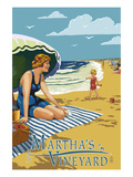 Martha's Vineyard - Woman on Beach Art by  Lantern Press