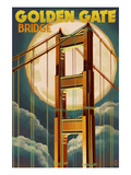 Golden Gate Bridge and Moon - San Francisco, CA Prints by  Lantern Press