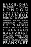 Europe Cities Bus Roll Premium Giclee Print by Michael Tompsett