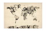 Map of the World Map from Old Clocks Premium Giclee Print by Michael Tompsett