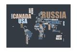 World Text Map Premium Giclee-trykk av Michael Tompsett