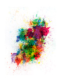 Ireland Map Paint Splashes Premium Giclee Print by Michael Tompsett