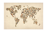 Cats Map of the World Map Premium Giclee Print by Michael Tompsett