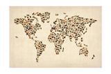 Världskarta, katter Gicléetryck på högkvalitetspapper av Michael Tompsett