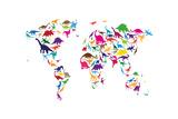 Dinosaur Mapa del Mundo Mapa Lámina giclée premium por Michael Tompsett