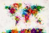 World Map Paint Splashes Premium Giclee Print by Michael Tompsett
