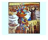 Scene Africaine Premium Giclee Print by Roger Burgi