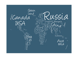 Writing Text Map of the World Map Premium Giclee Print by Michael Tompsett