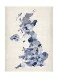 Great Britain UK Watercolor Map Premium Giclee Print by Michael Tompsett