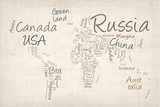 Writing Text Map of the World Map Premium Giclee-trykk av Michael Tompsett