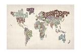 Text Map of the World Premium Giclee-trykk av Michael Tompsett