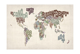 Text Map of the World Premium Giclee Print by Michael Tompsett